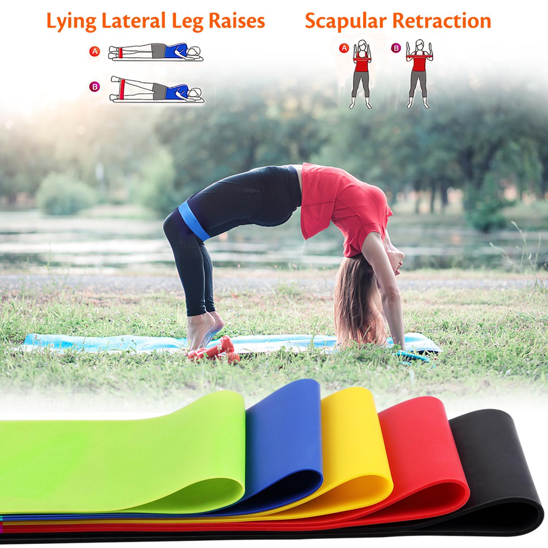 Set of 5 Resistance Bands Loop Exercise Yoga Fitness Leg Arm Workout J0B2