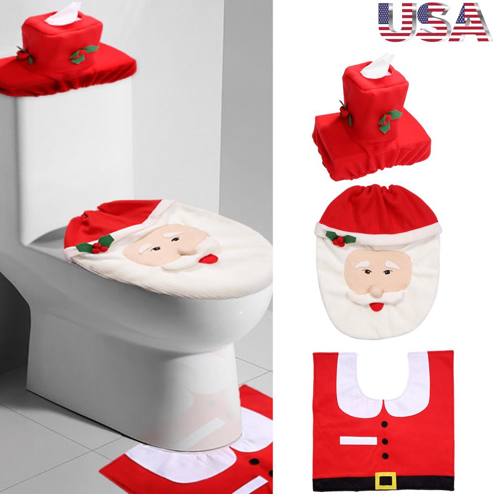 Santa Toilet Seat Cover Rug Bathroom