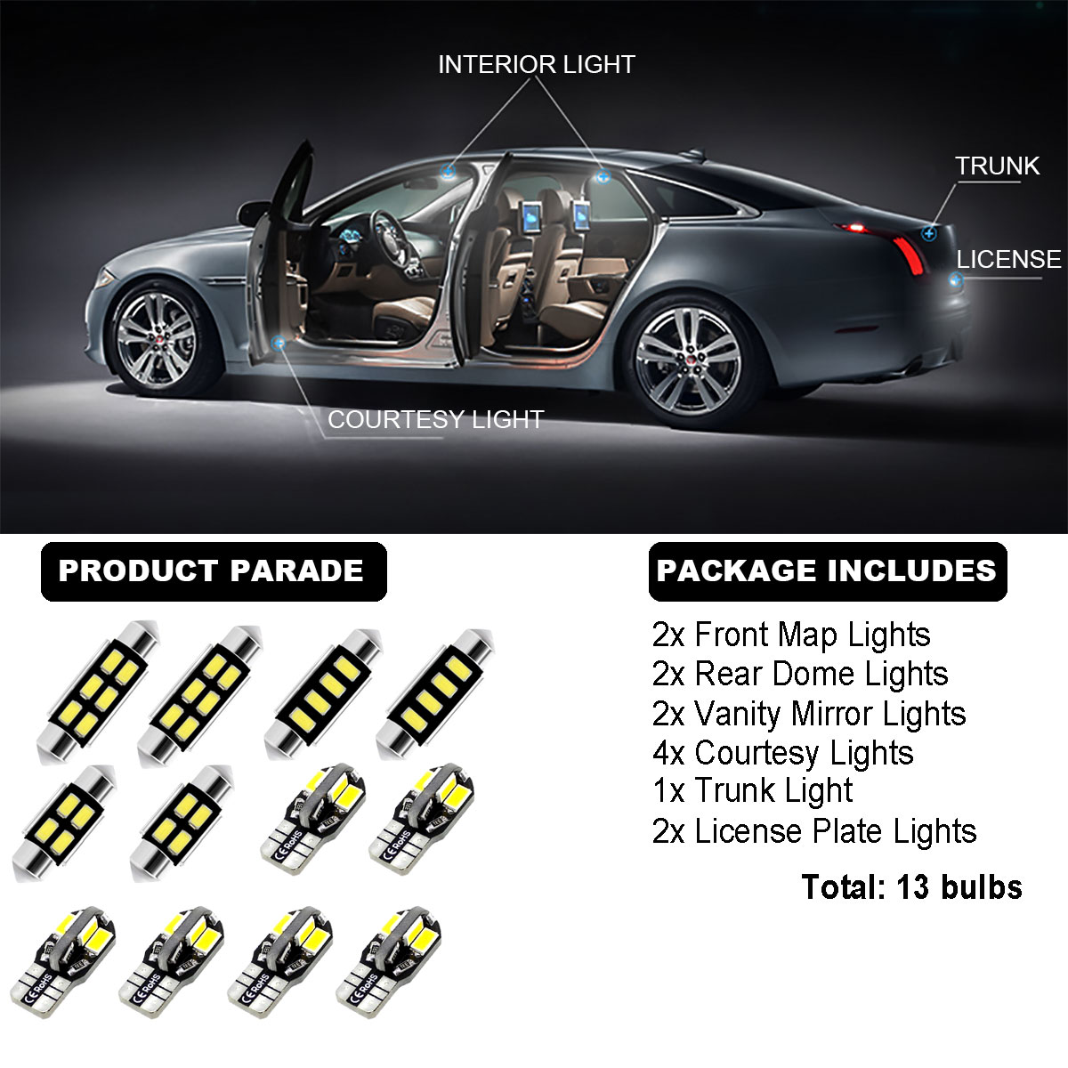 13Bulbs Cool White 6000K Interior Dome Light Kit LED Fit