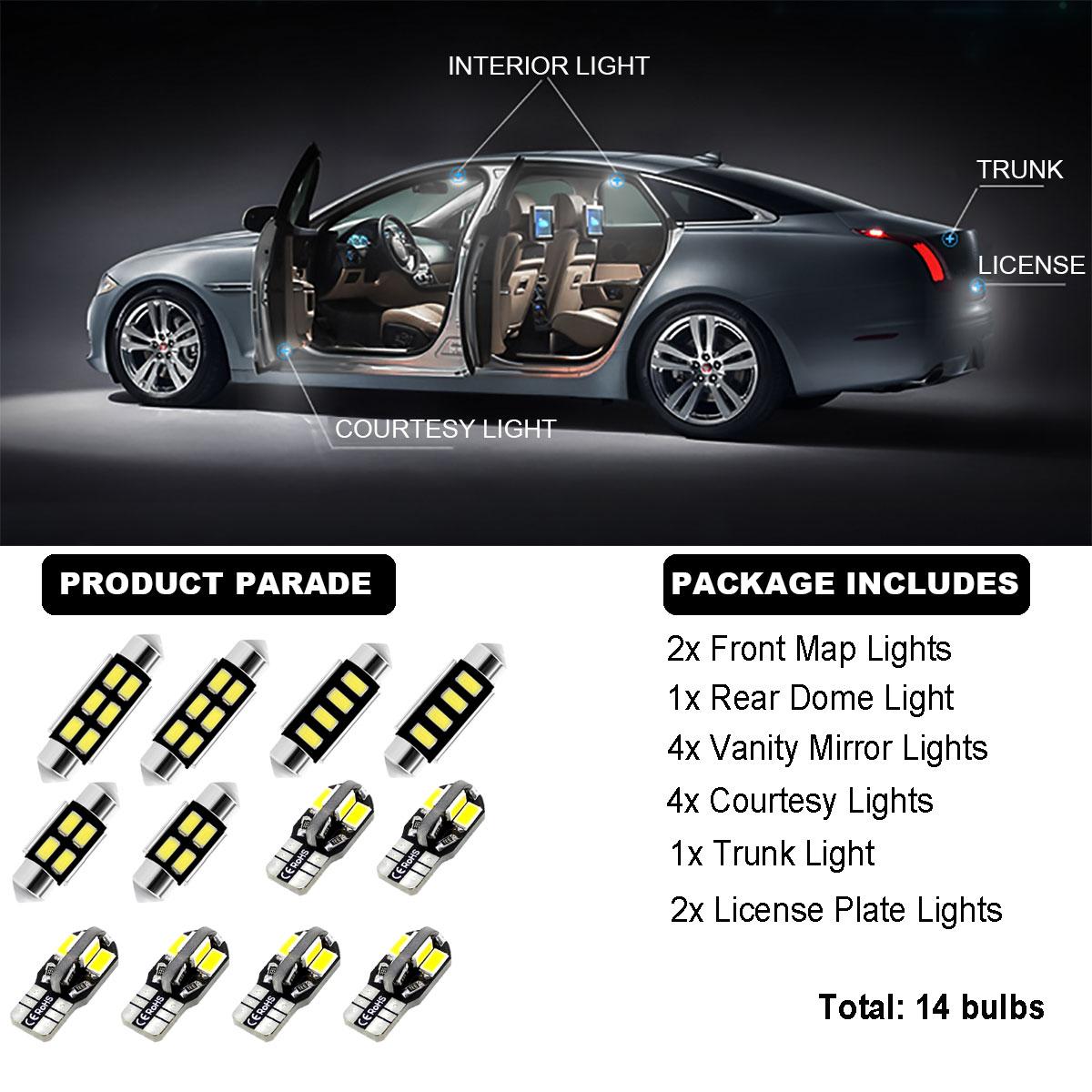 14Bulbs LED Interior Dome Light Kit Xenon White 6000K For