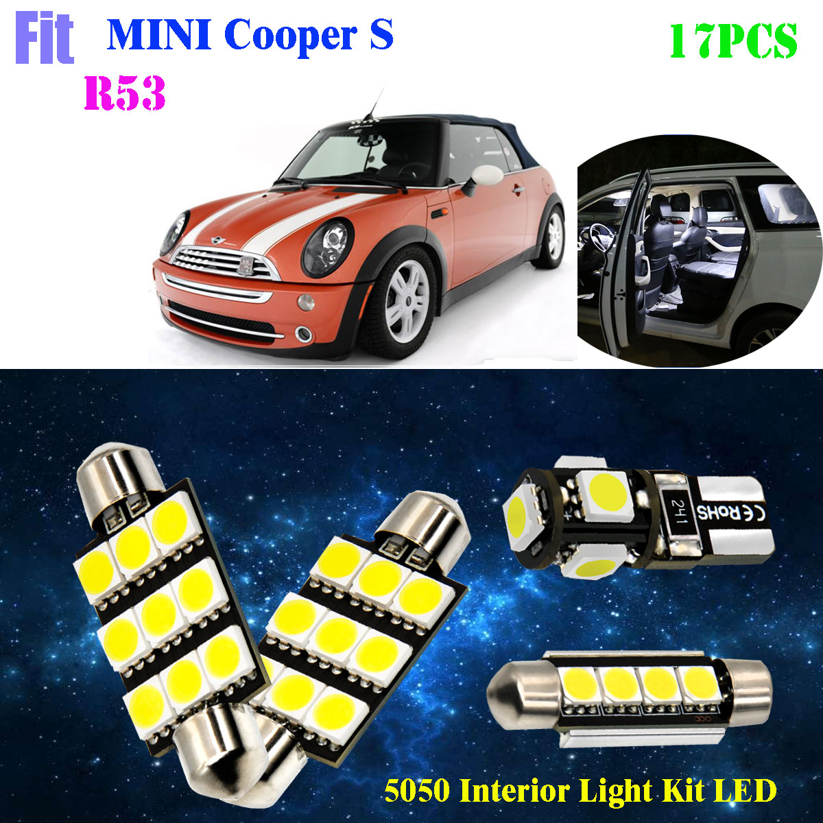 Bright White Xenon LED SMD Number Plate Lights Bulbs Mini Cooper R53 2000-2006