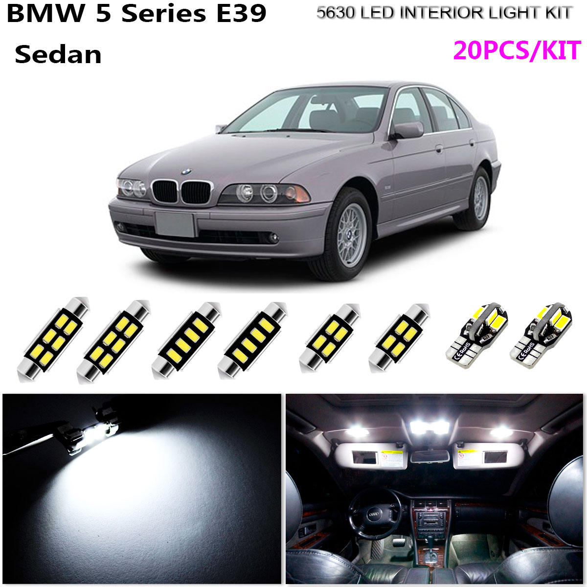 BLUE Premium Interior LED Kit Bright SMD Fits BMW 5 Series F10
