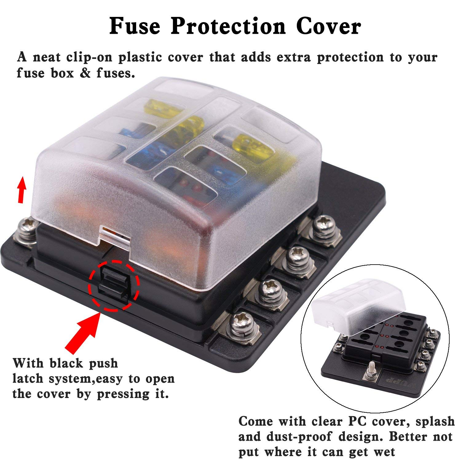 8 Way Car Auto Boat Bus UTV Blade Fuse Box Block Cover 12V with LED  Indicators