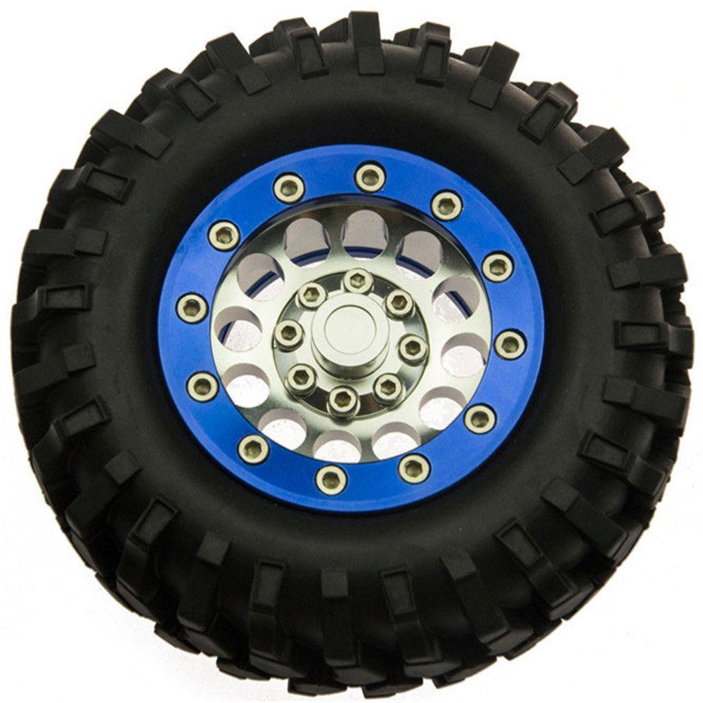 "4PCS 1//10 RC Crawler 1.9/"" Metal Beadlock Wheel Rims /& 108mm Rubber Tyre Tires #1"