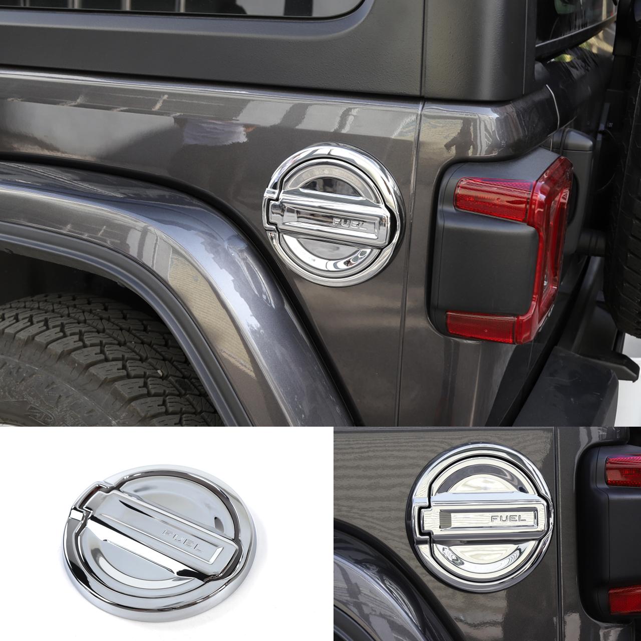 Chrome ABS Fuel Filler Oil Tank Gas Cap Lid Trim Cover for 2018 Jeep Wrangler JL