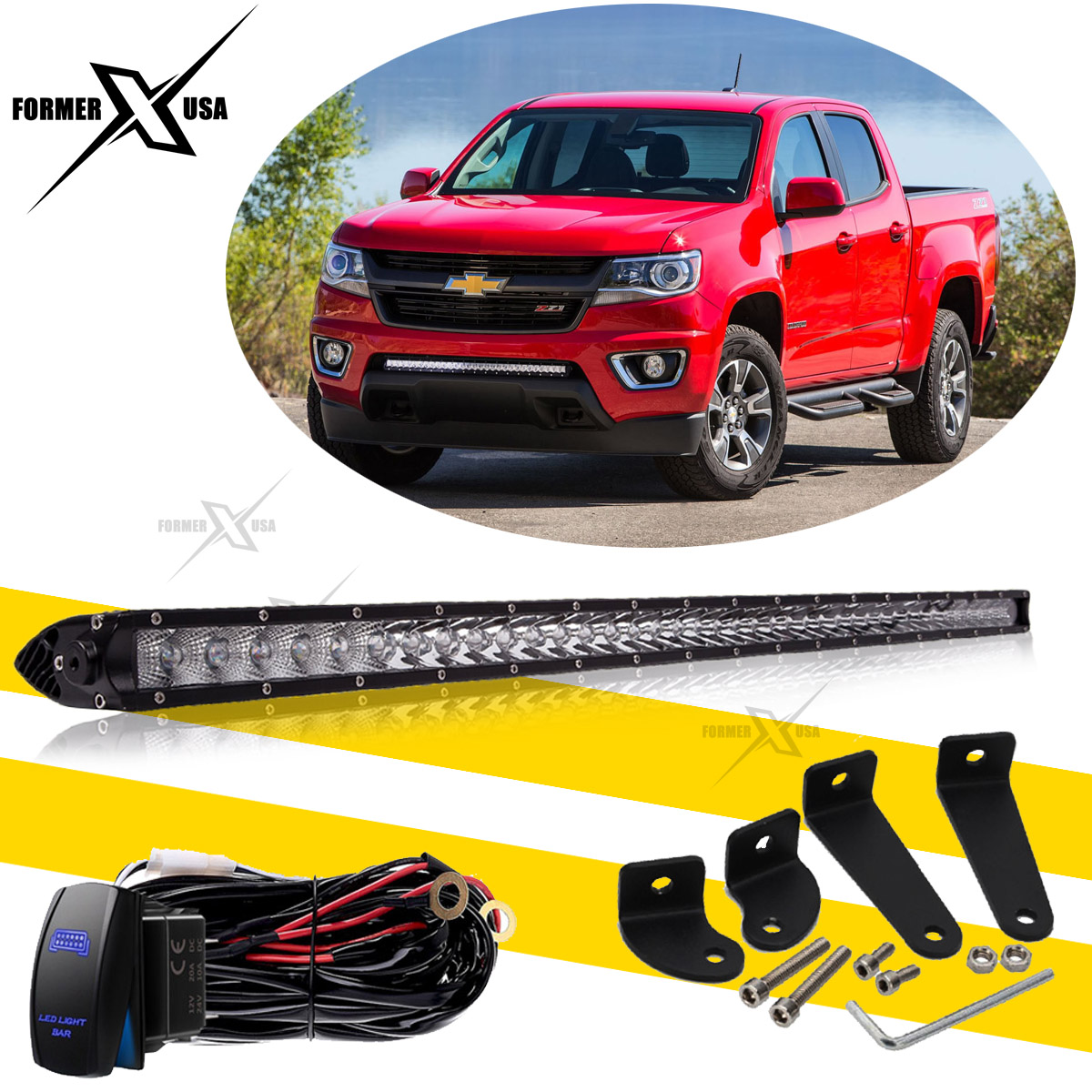 """Fit 2015-2016 GMC Canyon Chevy Colorado 30"""" INCH LED Light Bar + Wiring  Harness"""