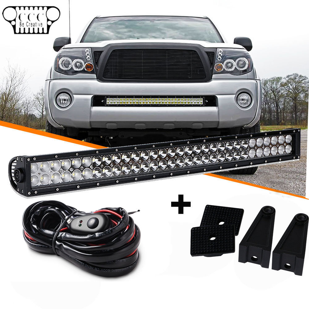 """30"""" LED Light Bar 180W +Wiring Harness W/ Switch Relay For 05-15 Toyota  Tacoma"""