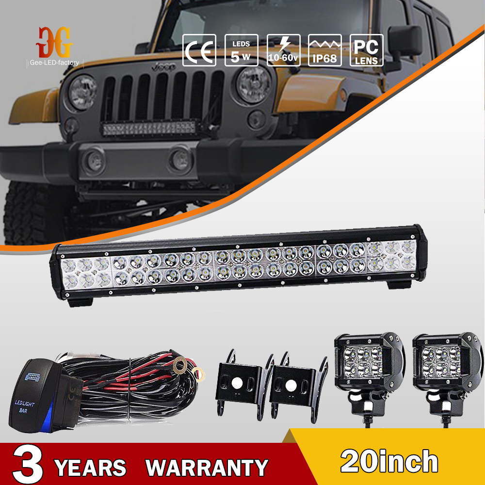 20inch Led Light Bar 2x4 Pods Wiring Harness Kit Fit Jeep Wrangler Jk Truck Boat