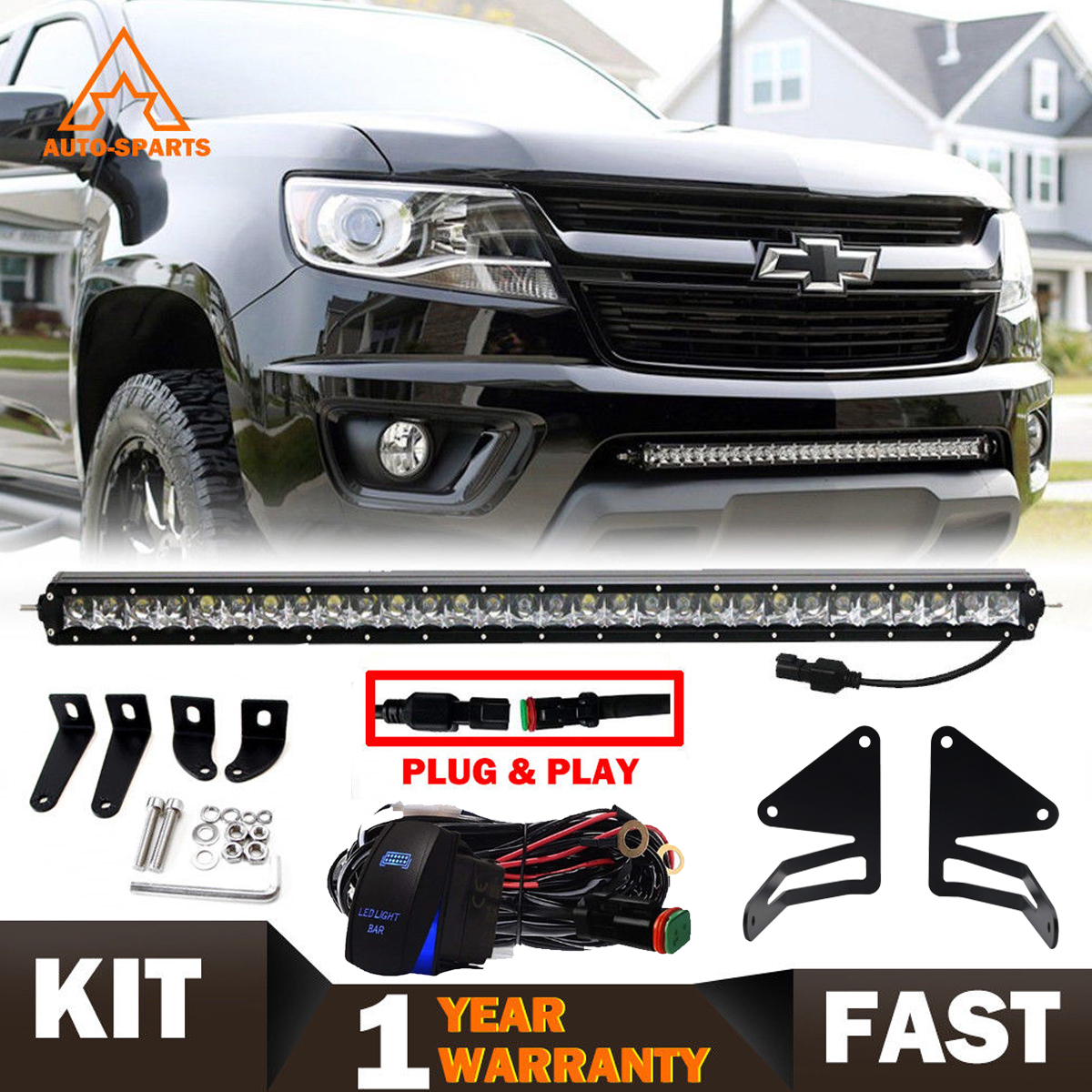 "Set Black Fog Lamp Spot Light Fit Chevrolet Colorado: 2015-2018 GMC Canyon Chevy Colorado 30"" LED Light Bar W"