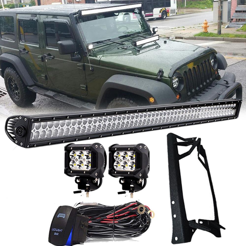 52 Inch Led Light Bar 4 Pods Mount Bracket Wiring For Jeep Tj Windshield Lights Wrangler Jk 07 18