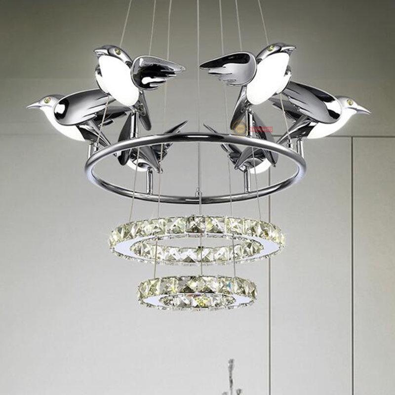 Modern Crystal Ring Chrome Bird LED Light Contemporary Ceiling ...