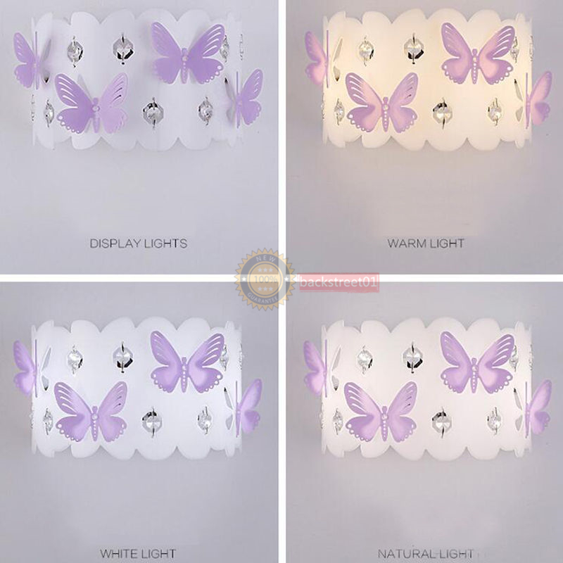 Modern Crystal Butterfly LED Wall Lamp Aisle Wall Sconce Child Bedroom  Lighting