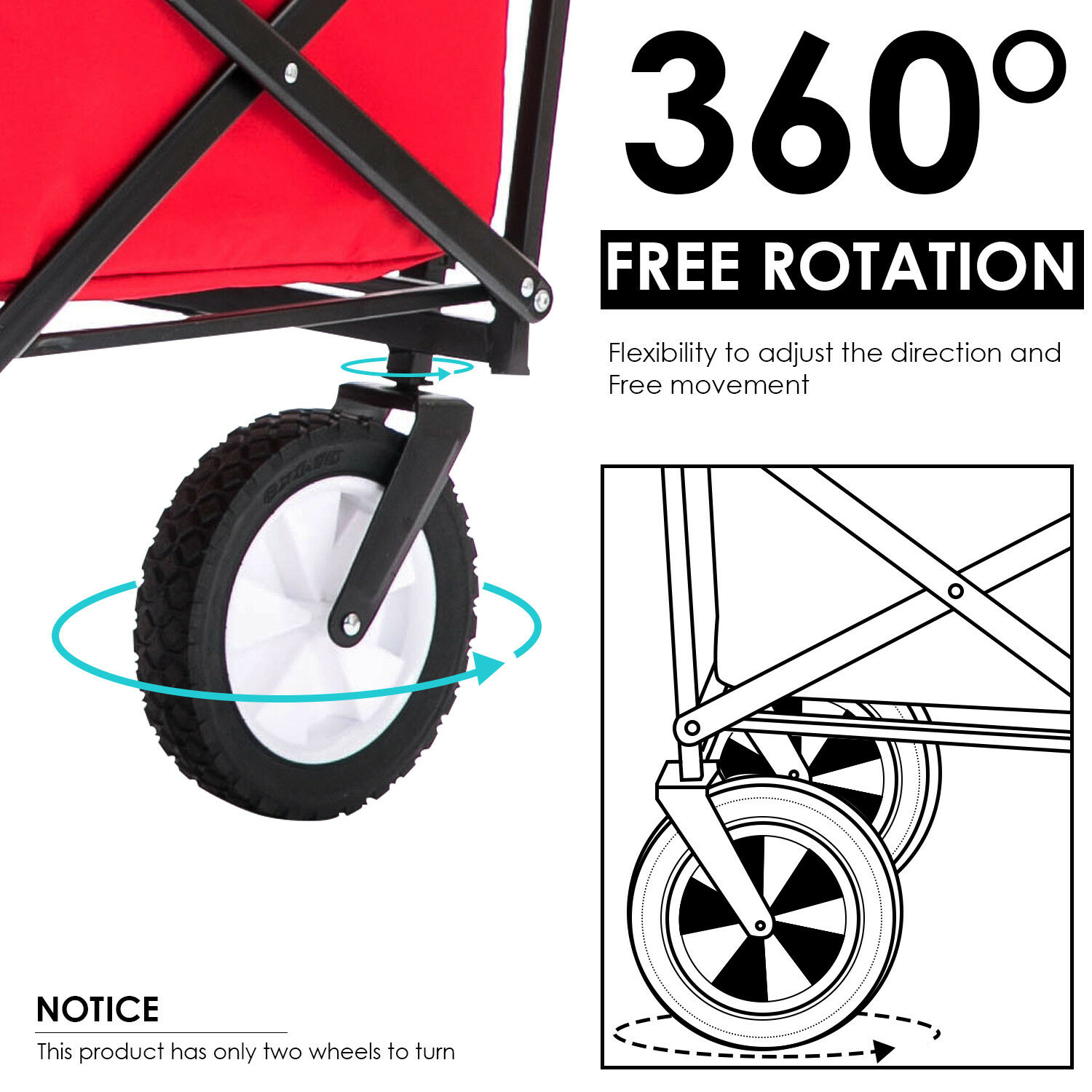 Folding Hand Cart Camping Shopping Trolley Fold Up Storage Box Wheels Foldable ▲