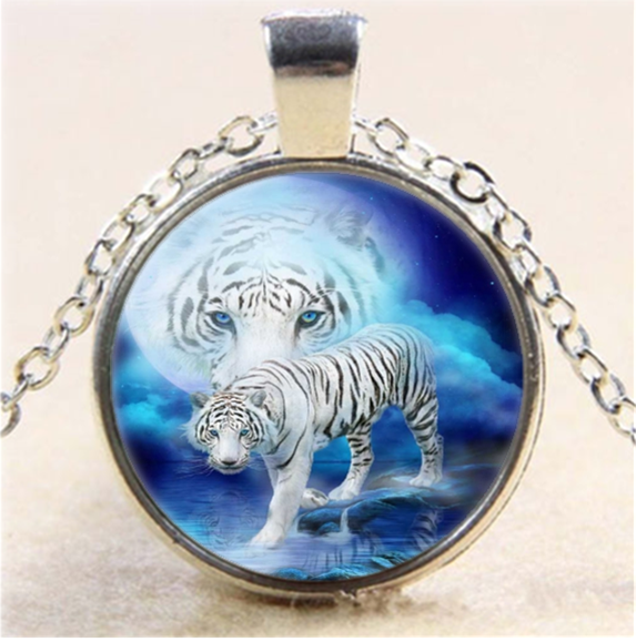 Vintage Moonlight White Tiger Cabochon Glass Silver Chain Pendant Necklace