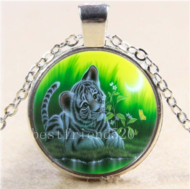 Moon Two Baby Tiger Cabochon Glass Tibet Silver Chain Pendant Necklace