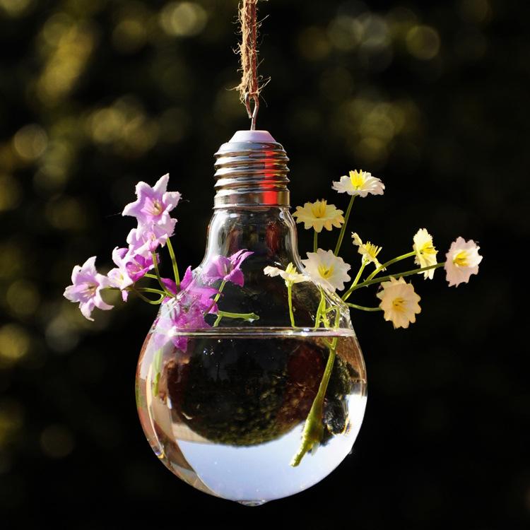 Light Bulb Shape Glass Hanging Vase Home Garden Decoration Flower