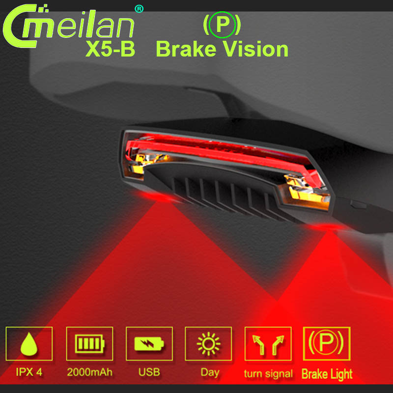 Meilan X5 Bicycle Brake Tail Light Rear Wireless Remote Control Signals Laser US