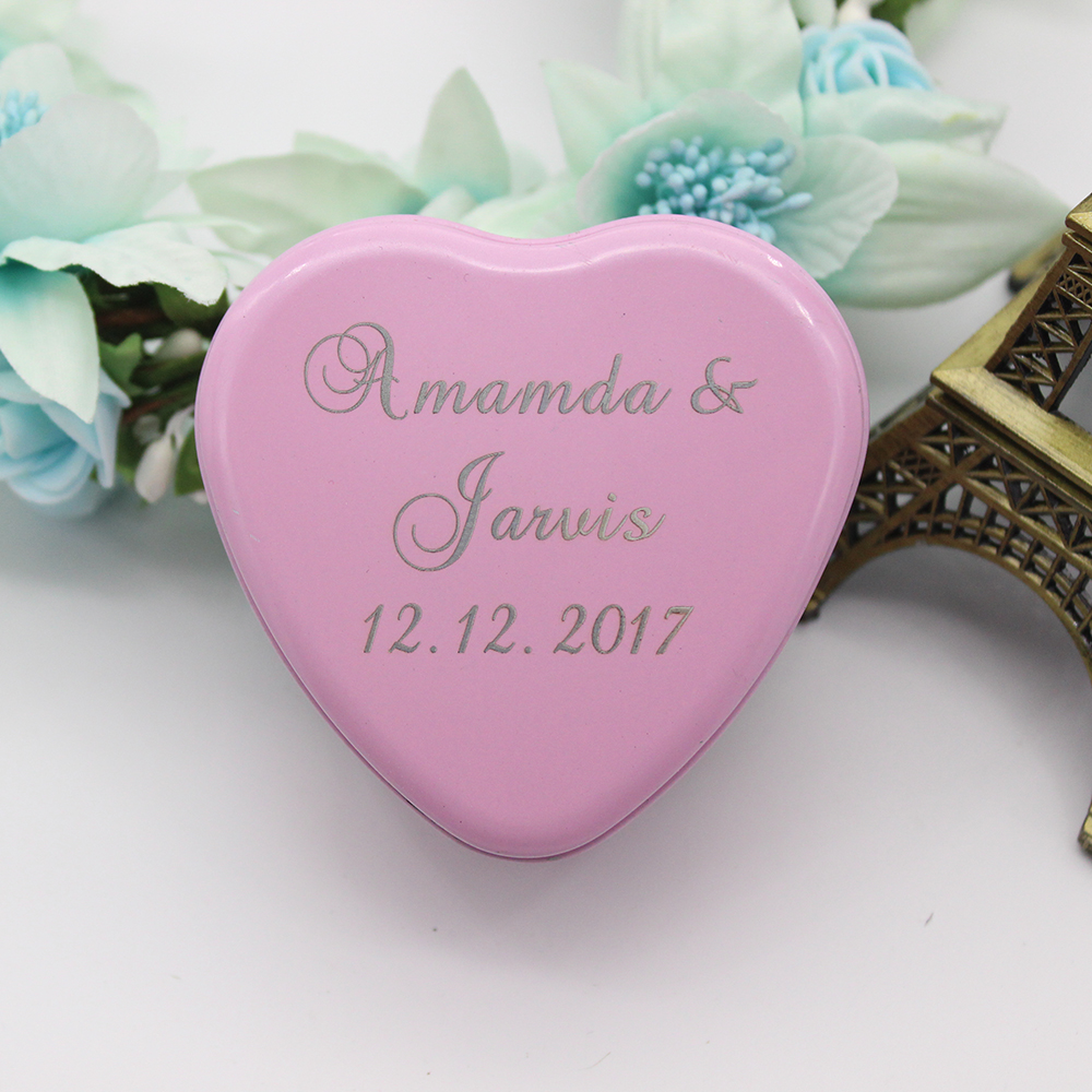 12pcs Personalized Engraved Wedding Candy Boxes Love Heart Tinplate ...