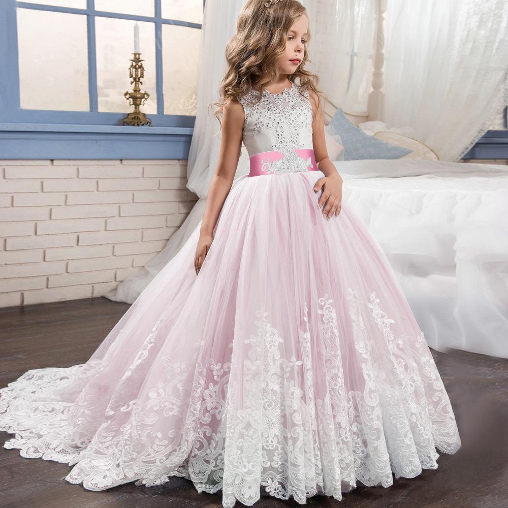 Kinder Mädchen Hochzeitskleid Kommunion Abendkleid Prinzessin Lang