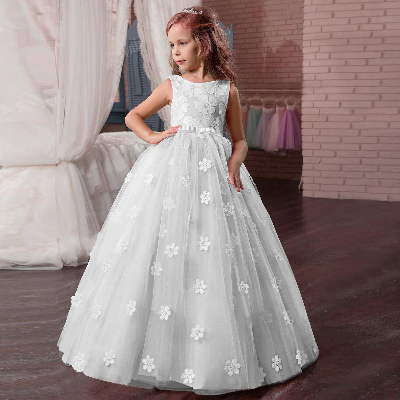 Blumenmädchen Kleid Kinder Mädchen Hochzeit Abendkleid Festkleid Kommunionkleid