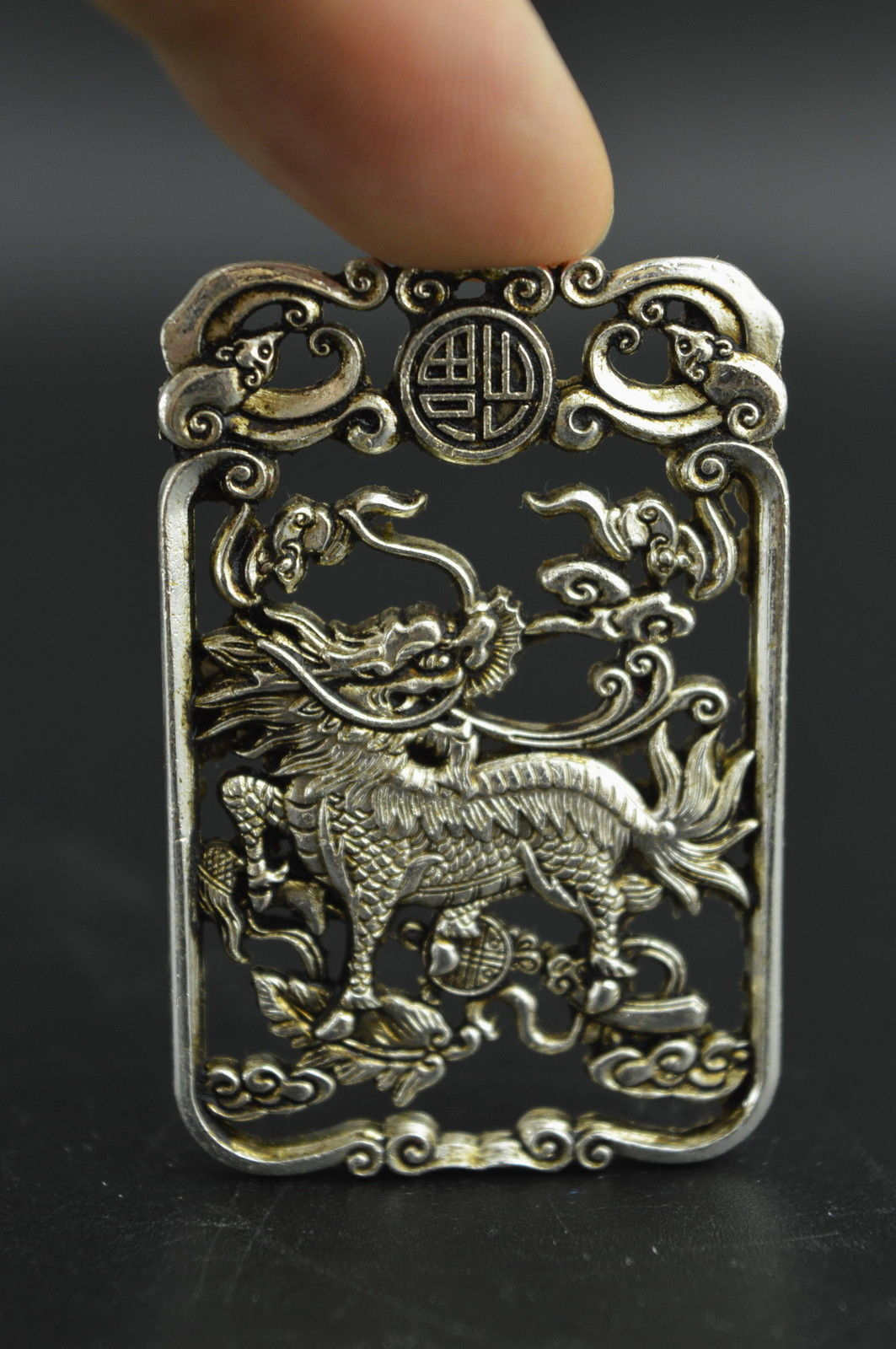 EXQUISITE CHINESE TIBETAN SILVER HANDWORK CARVED UNICORN PENDANT