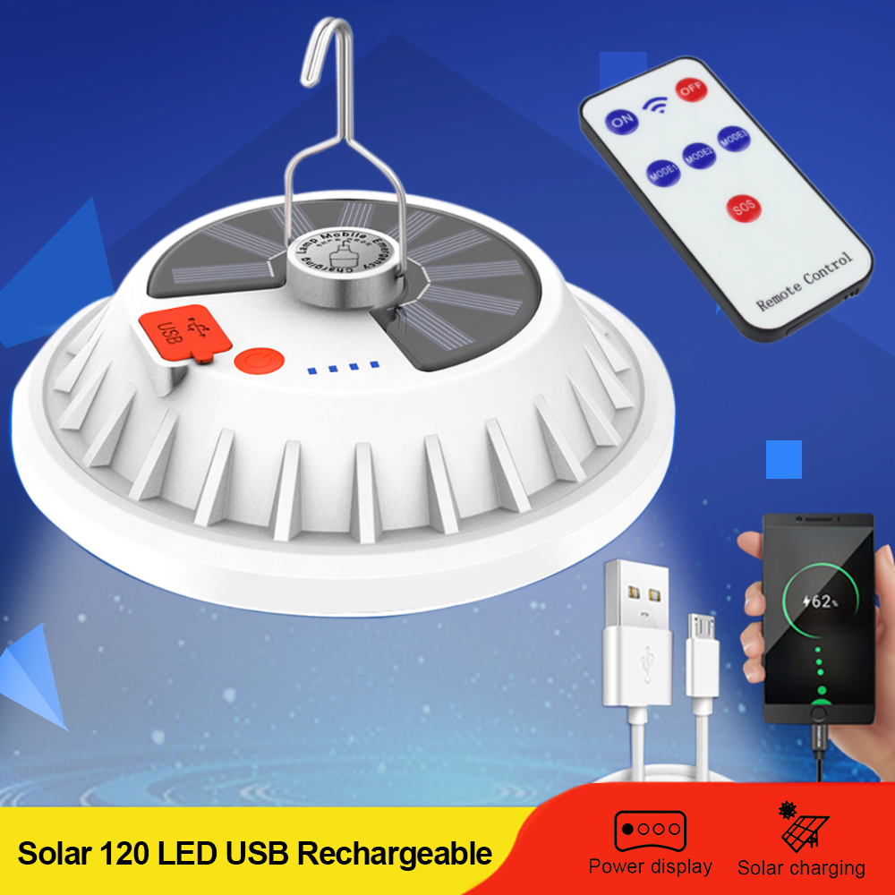 Remote 5000LM 120LED Solar Light Camping Lantern BBQ Tent USB Rechargeable Lamp