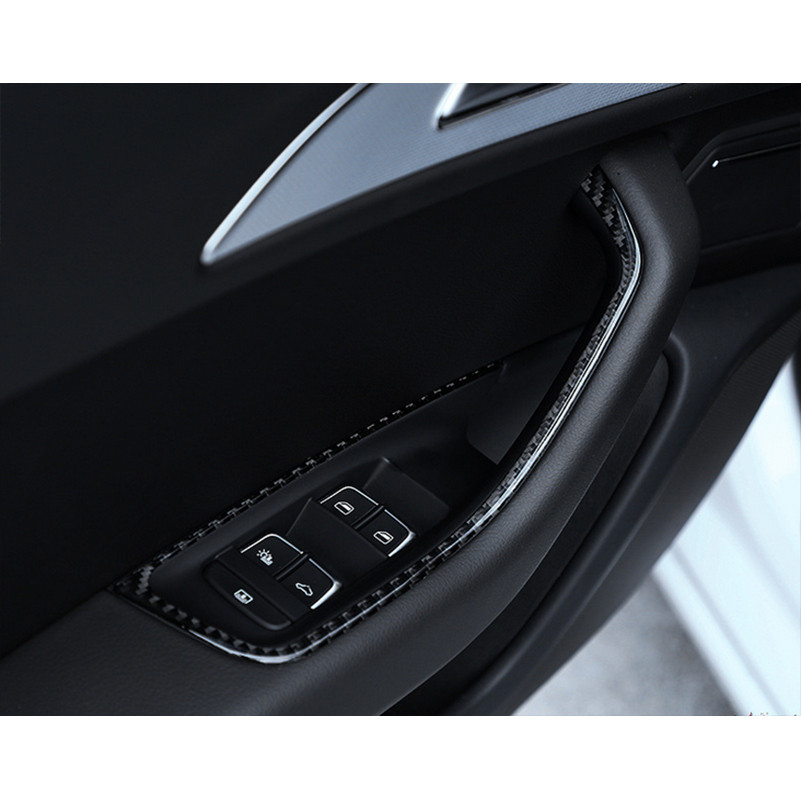 Carbon Fiber Car Door Window Lift Button Decor Frame Trim