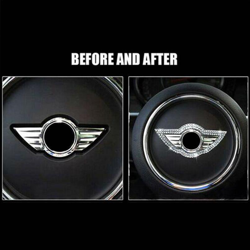 Bling Rhinestone Steering Wheel Logo Decoration Cover Trim
