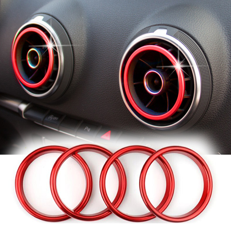 Car Red Air Conditioner Outlet Rings For Audi A3 8V Air Vents Frame Cover Trim