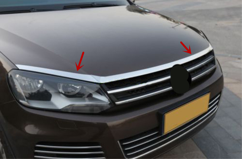 Stainless front hood Grill cover bonnet Cover For Volkswagen Touareg 2011-2017