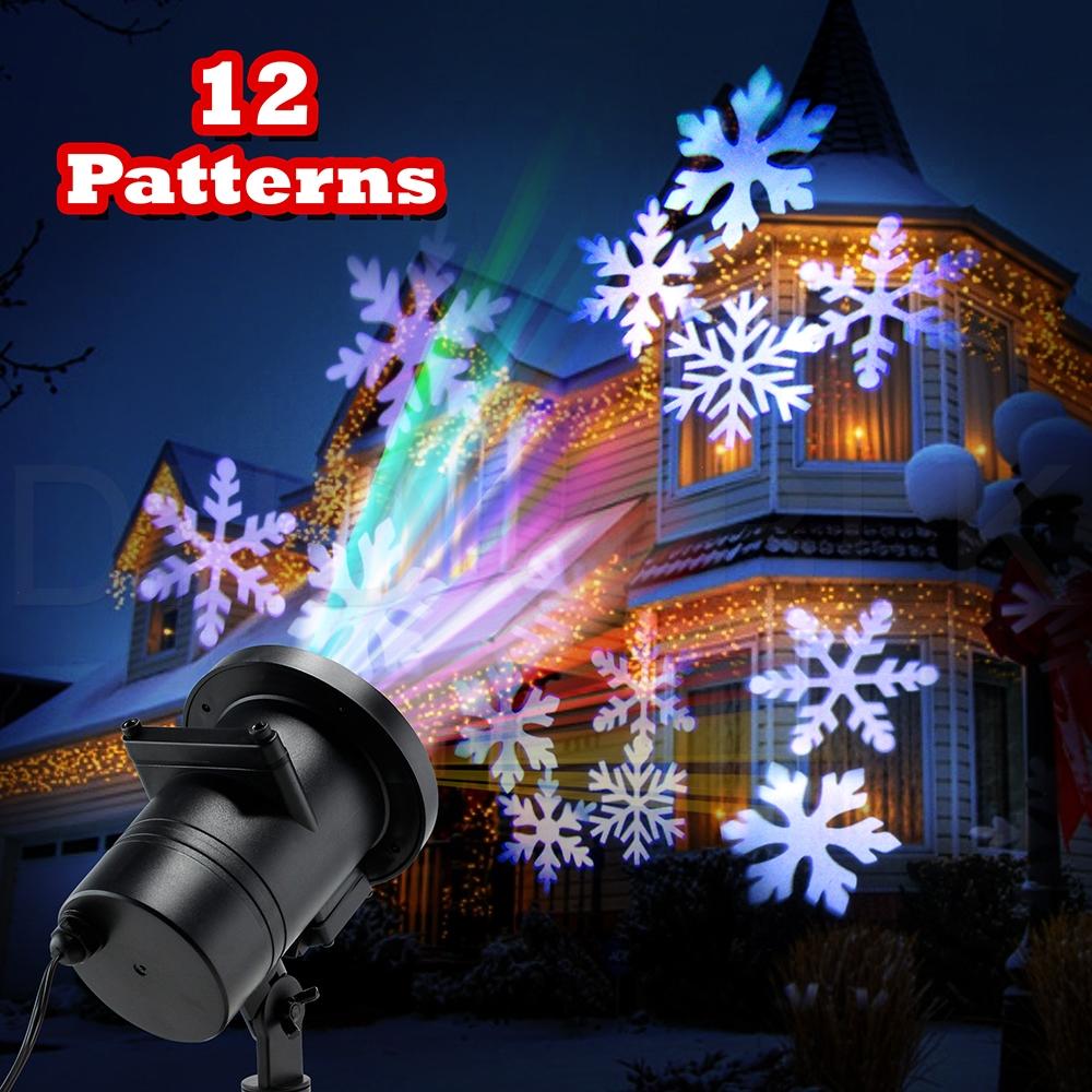 12 Pattern Motion Christmas Landscape Lights Projector Led