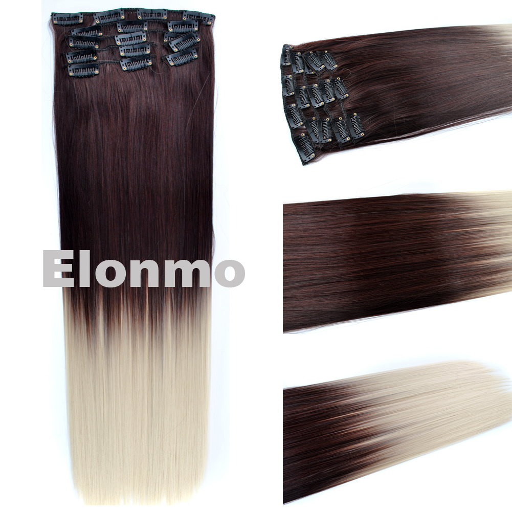 24inch 140g Two Tone Synthetic Ombre Hair Dyed Clip In Hair