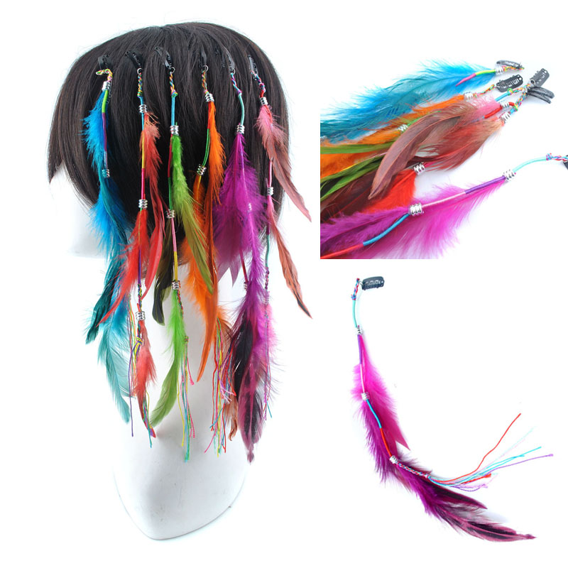 New Cosplay Party True Cock Long Clip Inon Feather Hair Extensions