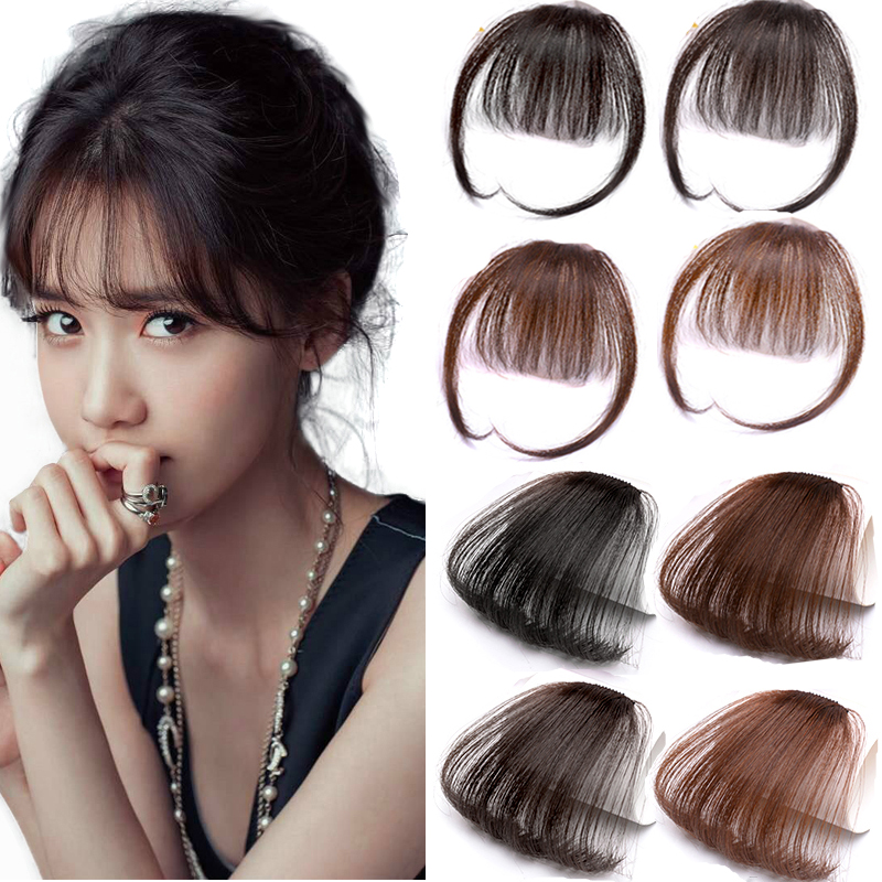 Thin Neat Air Felling Bangs Human Hair Extension Clip In Fringe