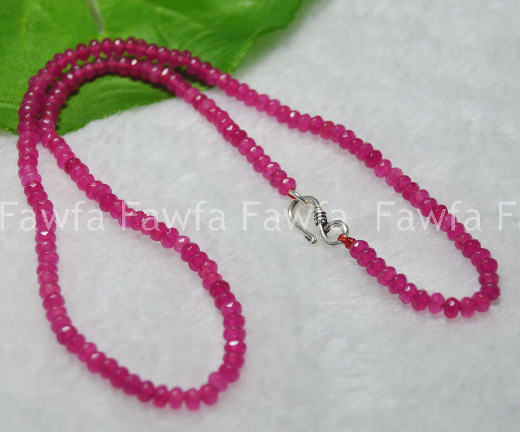 Fine 2x4mm Brazil Red Ruby Faceted Roundel Gems Beads Necklace Silver Clasp AAA