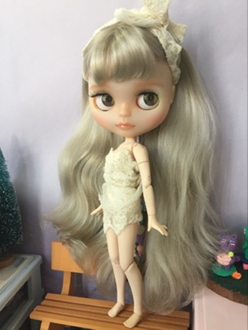 RBL Scalp /& Dome Silver Grey Mix Color Long Hair With Bangs For Blythe Doll R043
