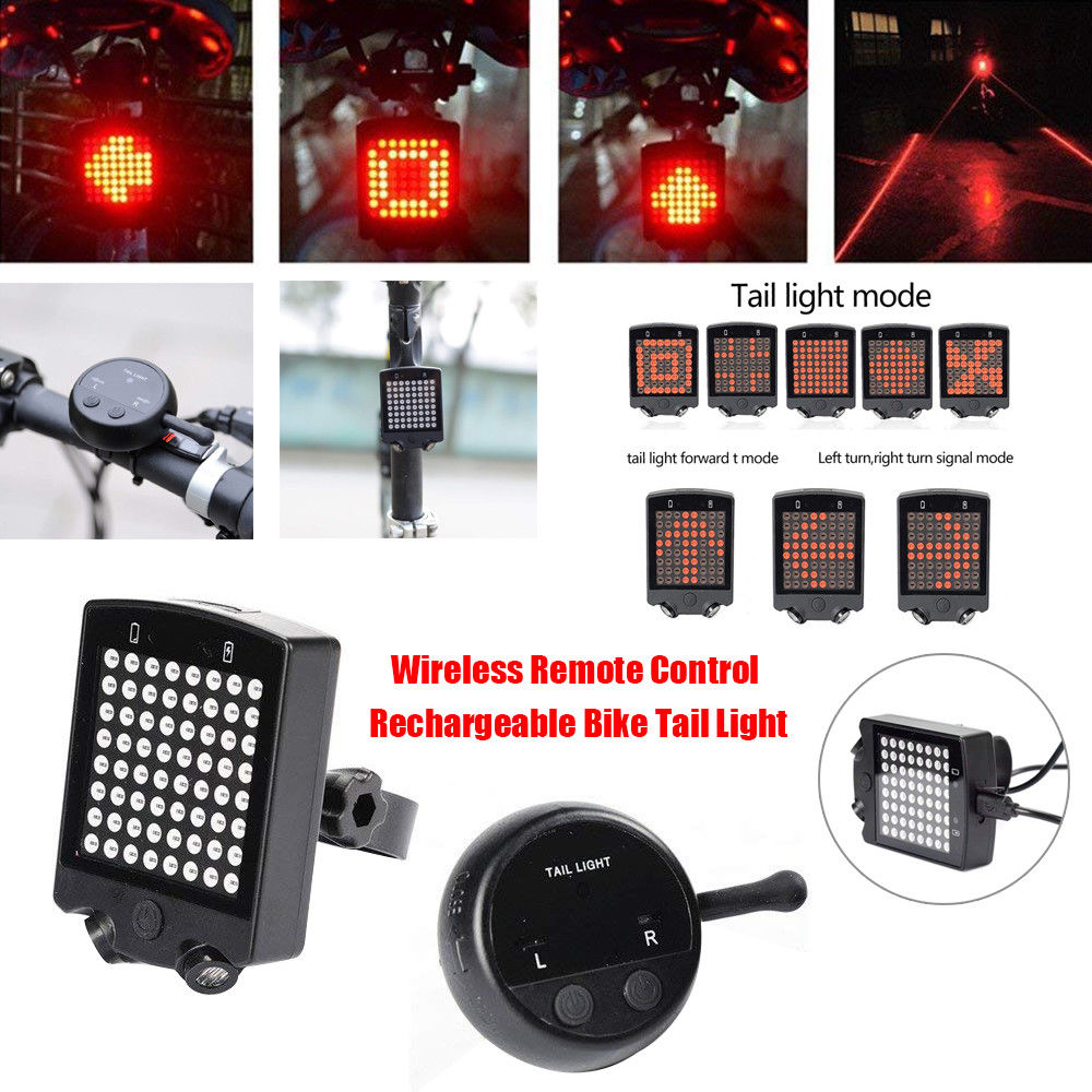 Wireless Remote Control Bicycle LED Tail Light steering Turn Signal Brake Lamp