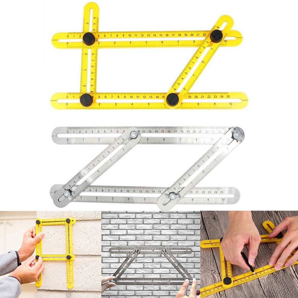 8ce249fa 1748 40ea b743 9f5d875dead7 - Stainless Steel/ ABS Measuring Tools Multi-angle Template Tool Four-sided Ruler