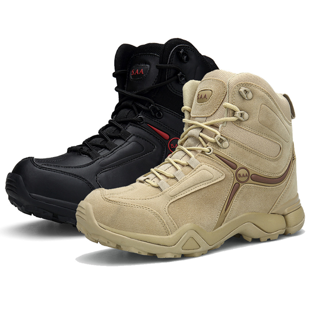 9333ce5f644a6 Mens Tactical Military Work Boots Leather Mid-AnkleTrekking Hike Shoes  Shoelace
