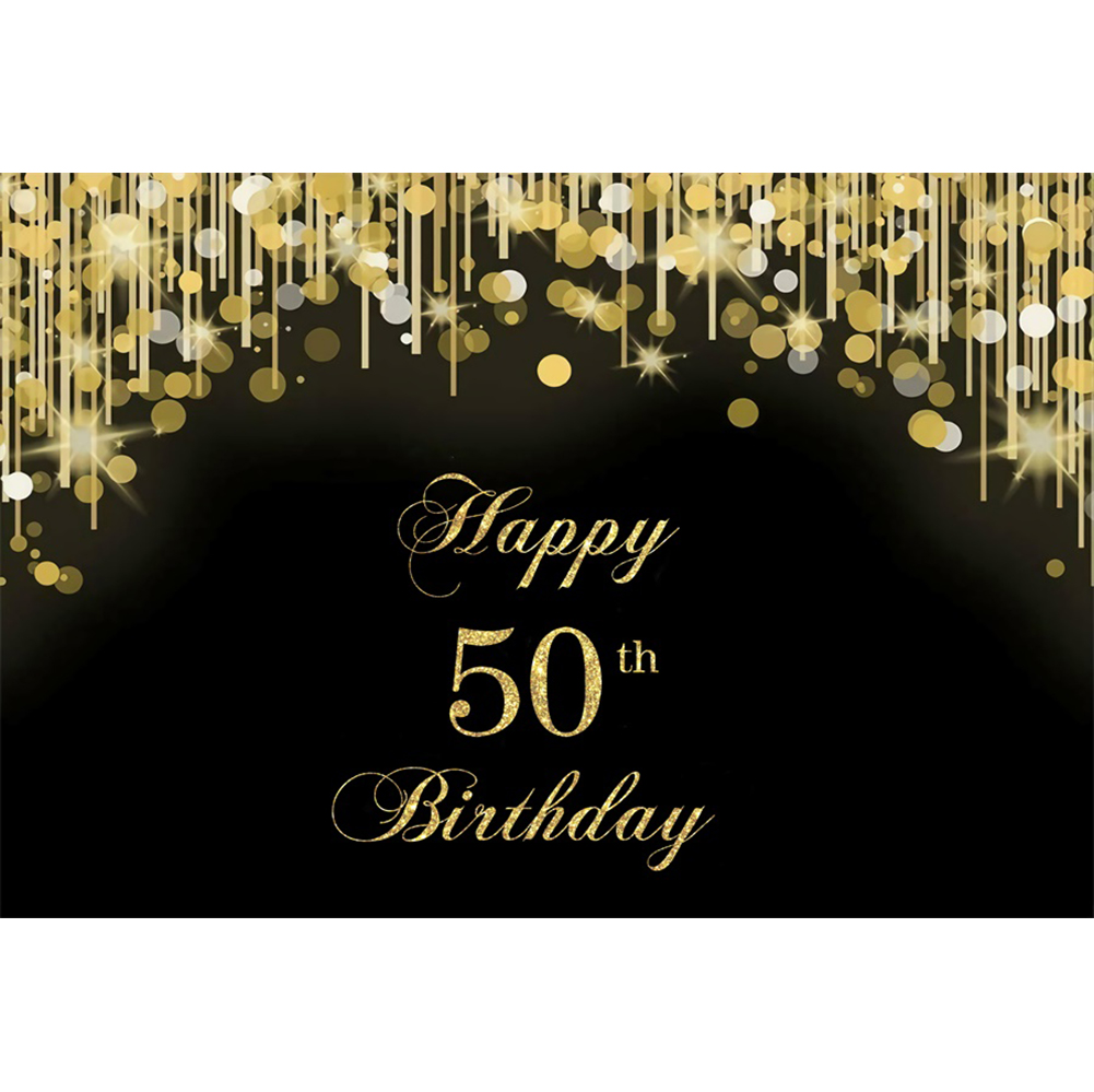 7x5ft Backdrop Happy 50th Birthday Gold Sparkle Party