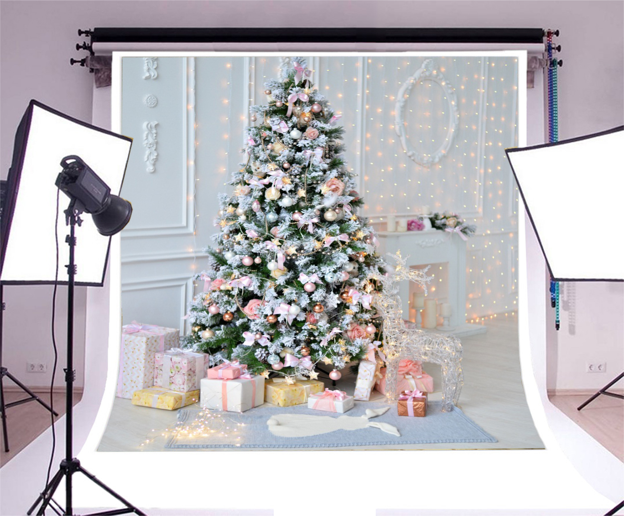 Indoor Sweet Christmas Tree Gifts 10x10\' Photography Backgrounds ...