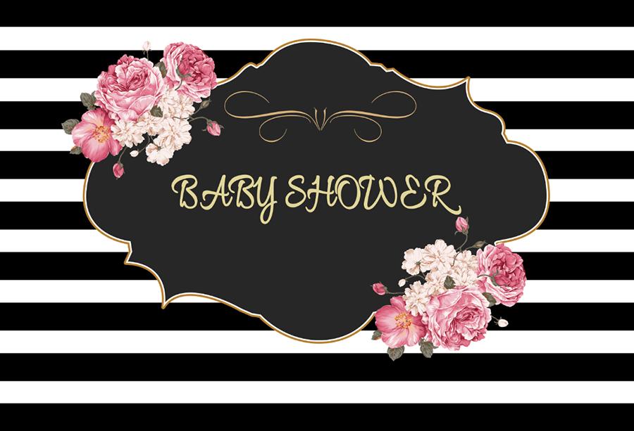 White Black Stripes Baby Shower Flowers Photo Backdrop Prop