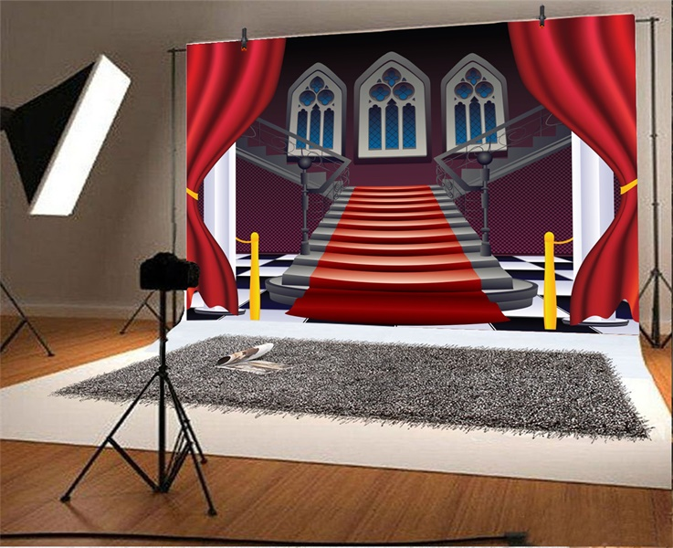 Red Carpet Stair Cartoon 7x5ft Photography Backgrounds Photo Backdrops Studio Ebay