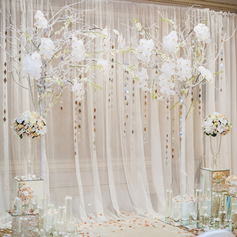 8x8ft Background White Curtain Floral Wedding Photo