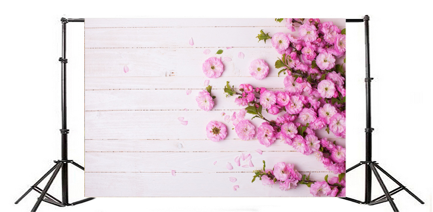 10x6 5 Background Photo Studio Prop Show Light Wood Pink Floral