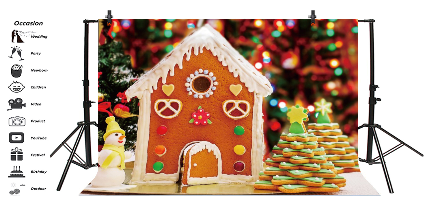 Christmas Gingerbread House Background.Details About Gingerbread House Christmas Tree Snowman Photo Backdrop 10x6 5ft Background Prop