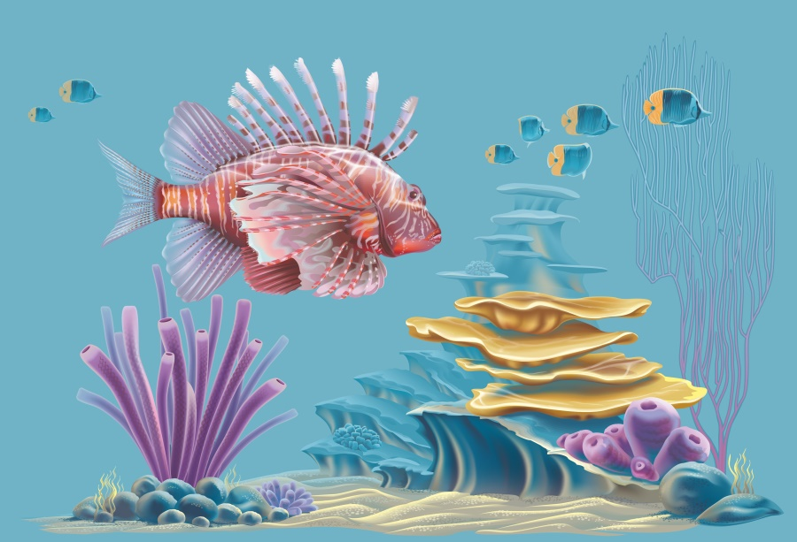 7/×5ft Background Wall Drop Vinyl Sea Fish Backdrop Only Taking Pictures Background Wall Covering Video Shooting Photo Studio Taking Pictures Background Foldable and Scrollable