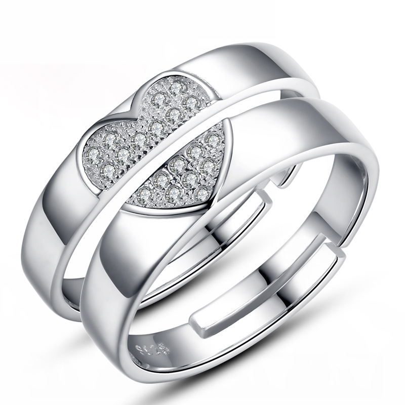 eb85a7909b70c Details about Match Heart Couple Rings Lovers USA Silver His and Her  Promise Wedding Band Ring