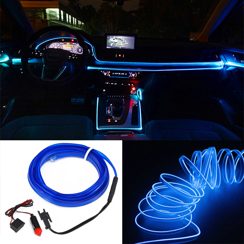 Details About 3m 12v Blue Neon Led Light Glow El Wire String Strip Rope Tube Car Interior Deco