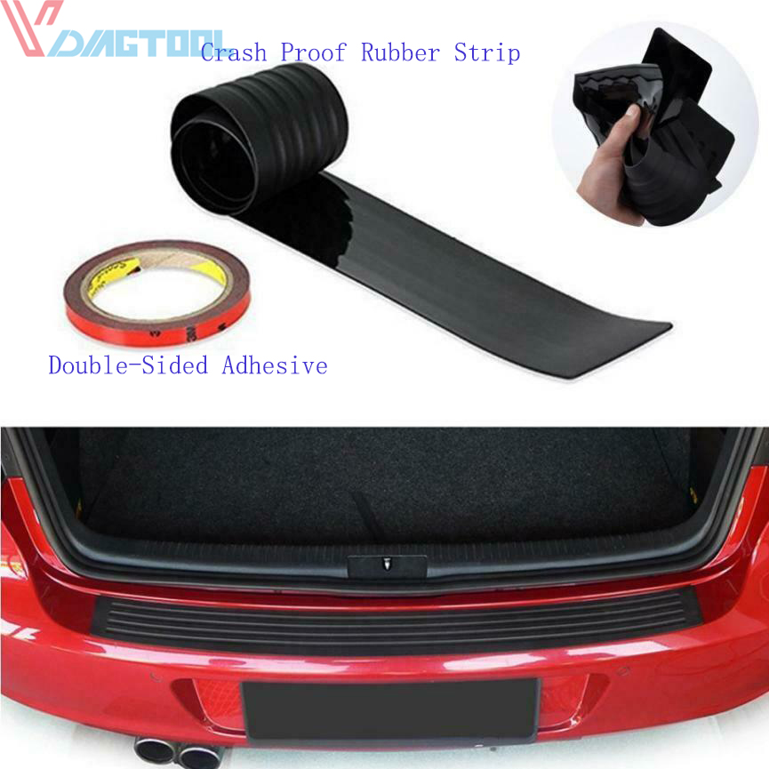 Black Car Rear Bumper Sill//Protector Plate Rubber Cover Guard Pad Moulding Trim